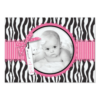 Zebra Print & Hot Pink Accent Photo Announcement