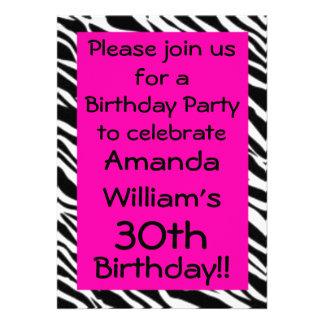Zebra Print Hot Pink Birthday Party Invitation