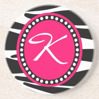 Zebra Print Hot Pink Circle Monogrammed Coaster