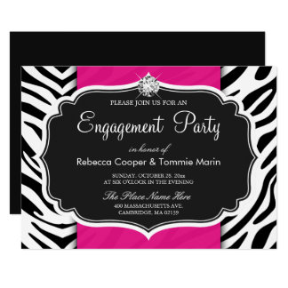 Zebra Print Hot Pink Diamond Engagement Party Card