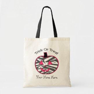 Zebra Print Hot  Pink  JackOLantern Trick Or Treat Tote Bag