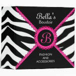 Zebra Print Hot Pink Lace Monogram 2 Inch Vinyl Binder
