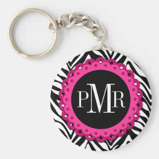 Zebra Print Hot Pink Lace Monogram Personalized Basic Round Button Keychain