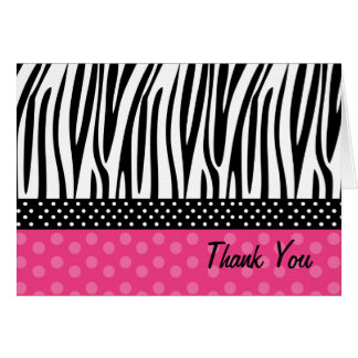Zebra Print Hot Pink Polkadots Thank you Note card