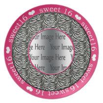 zebra print hot pink sweet 16 gift photo plate