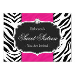 Zebra Print Hot Pink Sweet 16 Sweet Sixteen Party 5x7 Paper Invitation Card