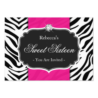Zebra Print Hot Pink Sweet 16 Sweet Sixteen Party Card