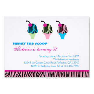Zebra Print Ice Cream Party Invitation