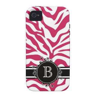 Zebra Print in Bright Shocking Pink Monogram iPhone 4 Cover