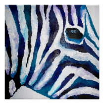 Zebra Print in Purple and Teal (K.Turnbull Art)