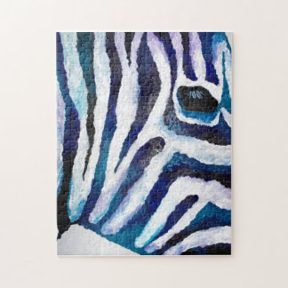 Zebra Print in Purple and Teal (K.Turnbull Art) Jigsaw Puzzles