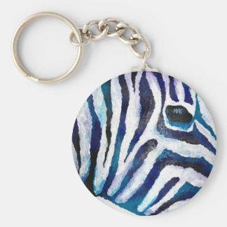 Zebra Print in Purple and Teal (K.Turnbull Art) Keychain