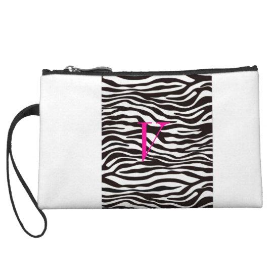 """Zebra Print Initial """"V"""" mini clutch"""
