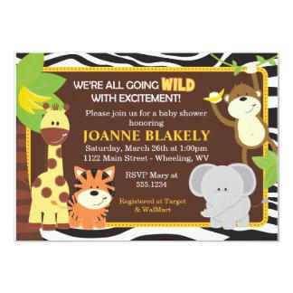 "Zebra Print Jungle Safari Baby Shower Invitation 5"" X 7"" Invitation Card"