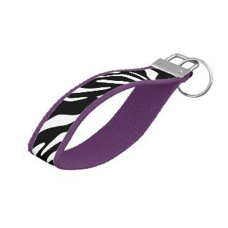Zebra Print Key Fob Wristlet Wrist Keychain