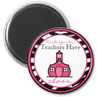 Zebra Print Kindergarten Teacher Magnet