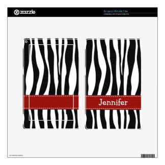 Zebra Print Kindle Fire Skin Red Ribbon Look