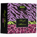 Zebra Print, Lavender Personalized School Binder