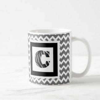 "Zebra Print Letter ""C"" on Gray/White Chevron Coffee Mug"