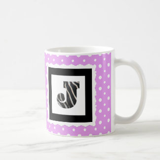 "Zebra Print Letter ""J"" on Lilac/White Polka Dots Coffee Mug"