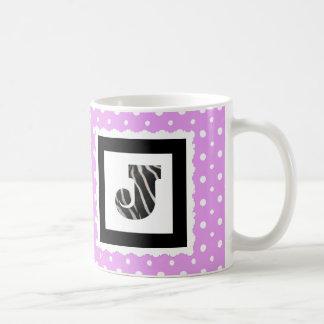 "Zebra Print Letter ""J"" on Lilac/White Polka Dots Coffee Mug"