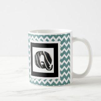 "Zebra Print Letter ""Q"" on Teal/White Chevron Coffee Mug"