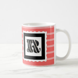"Zebra Print Letter ""R"" on Rose/White Pinstripes Coffee Mug"