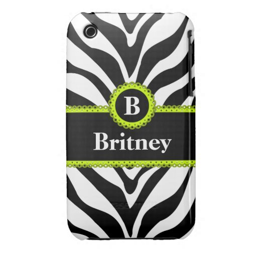 Zebra Print Lime Green Lace Monogram Name iPhone 3 Covers