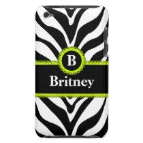 Zebra Print Lime Green Lace Monogram Name iPod Case-Mate Case