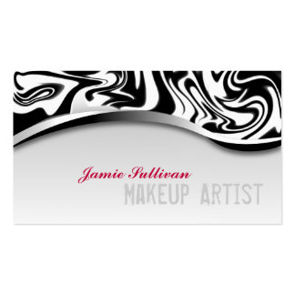 Zebra Print Makeup Artist Business Card Black
