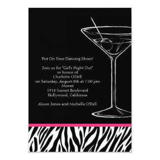 zebra print martini bachelorette card
