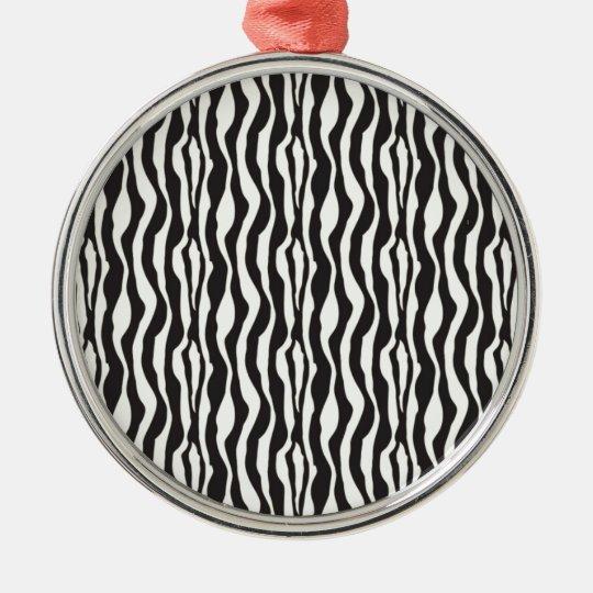 Zebra Print Metal Ornament