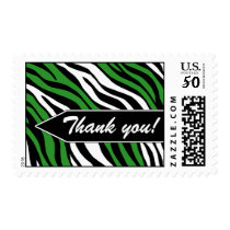 Zebra Print Mix Green Thank You Postage