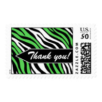 Zebra Print Mix Lime Green Thank You Postage