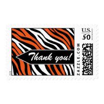 Zebra Print Mix Orange Thank You Postage Stamps
