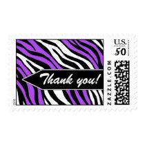 Zebra Print Mix Purple Thank You Postage