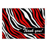 Zebra Print Mix Red Thank You Cards