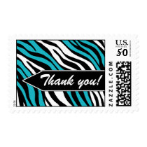 Zebra Print Mix Turquoise Thank You Postage