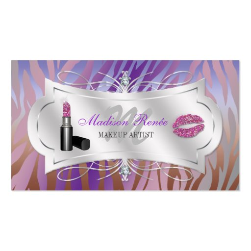 Zebra Print Mocha Lavender Glitter Cosmetologist Business