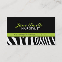 Zebra Print Modern Elegant Green Stylish Business Card