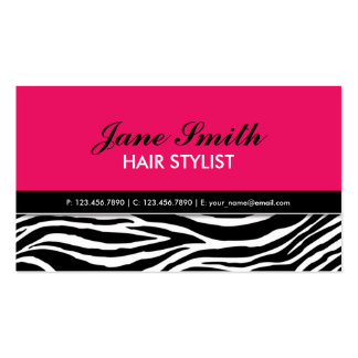 Zebra Print Modern Elegant Hair Stylist Hot Pink Double-Sided Standard Business Cards (Pack Of 100)