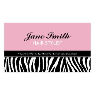 Zebra Print Modern Elegant Hair Stylist Spa Pink Business Card Template