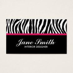 Zebra Print Modern Elegant Stylish Classy Business Card at Zazzle