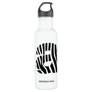 Zebra Print Monogram A 24oz Water Bottle