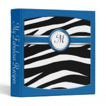Zebra Print Monogram Blue Recipe Binder