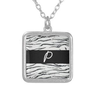 Zebra Print monogram initials merchandise Silver Plated Necklace