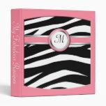 Zebra Print Monogram Pink Recipe Binder