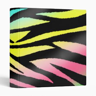 Zebra Print - Neon Pink, Yellow, Blue, Green 3 Ring Binders