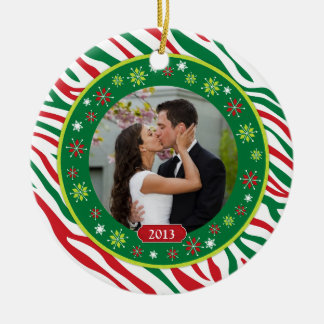 Zebra Print Our First Christmas Together Photo Christmas Ornaments