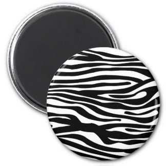 Zebra Print Pattern - Black and White 2 Inch Round Magnet